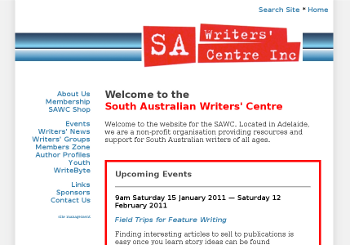 screen shot of SA Writers' Centre